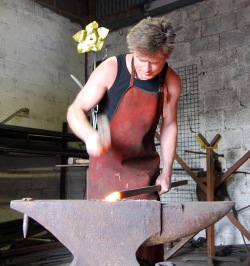 Simon Ridley, making ironwork