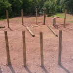 Putting in the circumference posts 17th July 2014