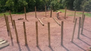 Putting in the circumference posts 11th July 2014